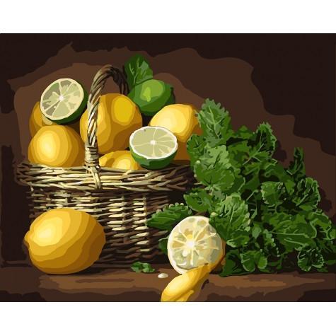 Фото Картины на холсте по номерам, Букеты, Цветы, Натюрморты KH 5589 Лимонное настроение Картина  по номерам на холсте 40х50см