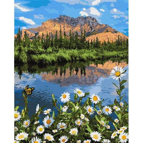 Фото Картины на холсте по номерам, Картины  в пакете (без коробки) 50х40см; 40х40см; 40х30см, Пейзаж, морской пейзаж. KHO 2833  Горный пейзаж Картина  по номерам на холсте (без коробки) 40х50см