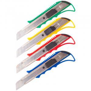 Фото Канцелярские товары (ЦЕНЫ БЕЗ НДС), Ножницы, ножи, лезвия, резаки, Ножи канцелярские, лезвия, резаки Нож канцелярский 18мм OfficeSpace, усиленный, с фиксатором, металл. направляющие, ассорти,европодвес