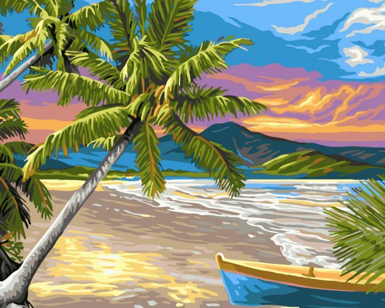 Фото Картины на холсте по номерам, Морской пейзаж AS 0023