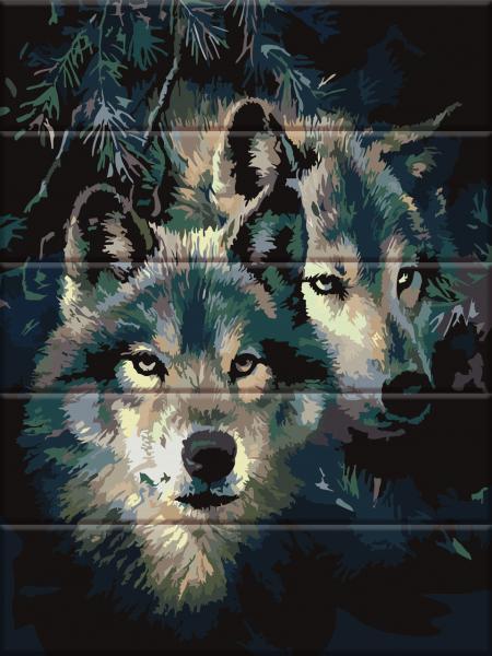 Фото  ASW 092 Сила волка Картина по номерам на дереве 30х40 см