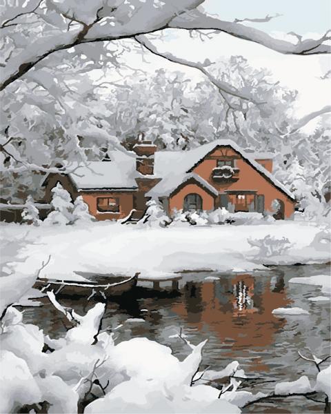 Фото Картины на холсте по номерам, Загородный дом AS 0861 Уютная зима по номерам на холсте Art Story 40x50см