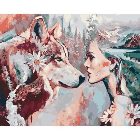 Фото Картины на холсте по номерам, Животные. Птицы. Рыбы... AS 0189 Душа волка Картина по номерам на холсте ART STORY 40x50см
