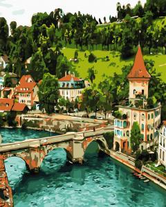 Фото Картины на холсте по номерам, Загородный дом AS 0693 Немецкий замок Картина по номерам на холсте Art Story 40x50см