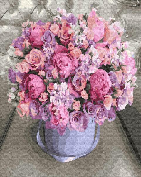 Фото Картины на холсте по номерам, Букеты, Цветы, Натюрморты KGX 36203 Цветочная композиция Картина по номерам  40х50см в коробке