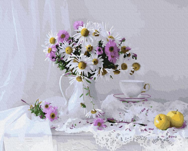 Фото Картины на холсте по номерам, Букеты, Цветы, Натюрморты KGX 33866 Нежный натюрморт с полевыми цветами Картина по номерам на холсте 40х50см