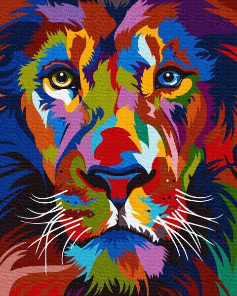 Фото Картины на холсте по номерам, Животные. Птицы. Рыбы... KGX 35770 Радужный лев Картина по номерам на холсте 40х50см
