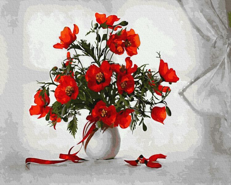 Фото Картины на холсте по номерам, Букеты, Цветы, Натюрморты KGX 36115 Маки Картина по номерам на холсте 40х50см