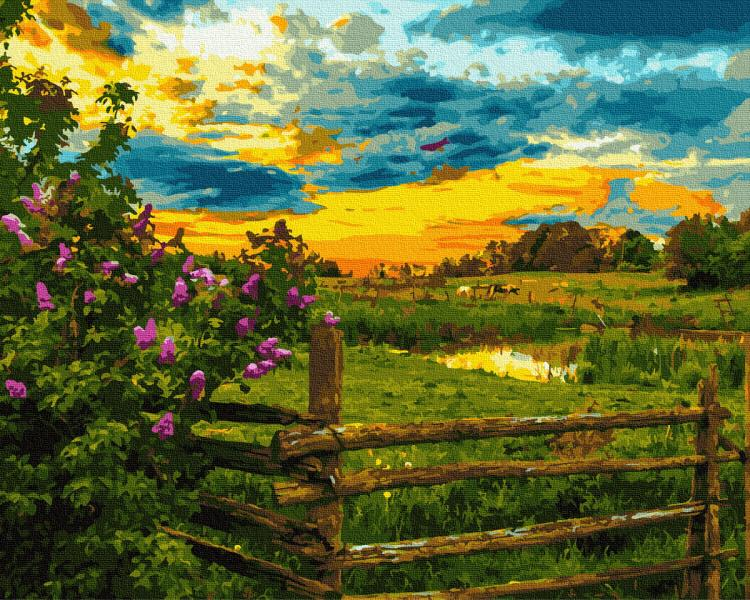 Фото Наборы для вышивания, Вышивка крестом с нанесенной схемой на конву, Пейзаж KGX 30414 На закате дня Картина по номерам  40х50см в коробке