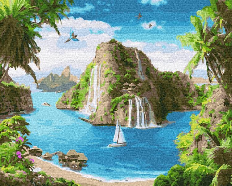 Фото Картины на холсте по номерам, Картины  в пакете (без коробки) 50х40см; 40х40см; 40х30см, Пейзаж, морской пейзаж. GX 34675 Райский уголок Картина по номерам  40х50см без коробки, в пакете