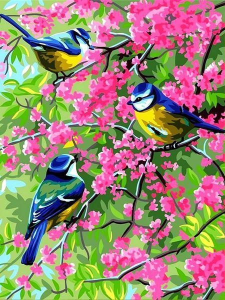 Фото Картины на холсте по номерам, Животные. Птицы. Рыбы... VK 253 Весенние синички  Картина по номерам на холсте 40x30см