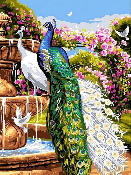 Фото Картины на холсте по номерам, Животные. Птицы. Рыбы... VK 263 Сад с павлинами Картина по номерам на холсте 40x30см