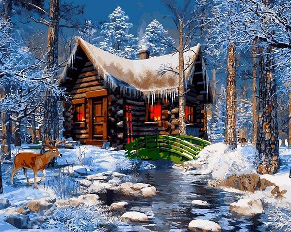 Фото Картины на холсте по номерам, Зима! Новый Год! Рождество! VP 1269 Домик в лесу     40х50см