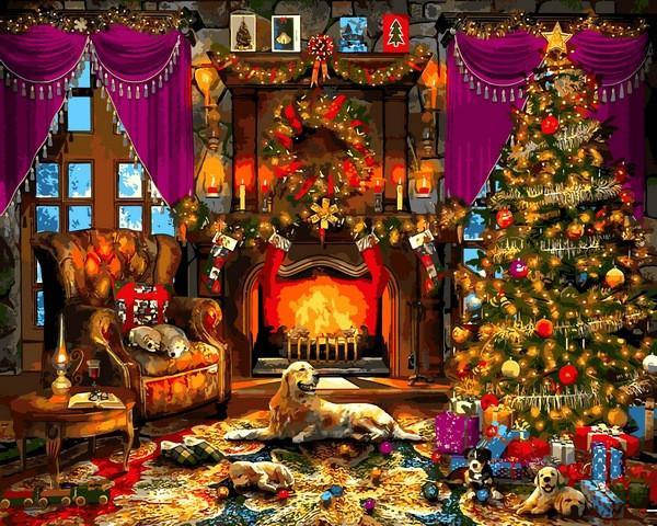 Фото Картины на холсте по номерам, Зима! Новый Год! Рождество! VP 1271   Рождественская елка картина по номерам    40х50см