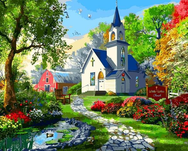 Фото Картины на холсте по номерам, Загородный дом VP 1287 Маленькая Белая Церковь картина по номерам    40х50см