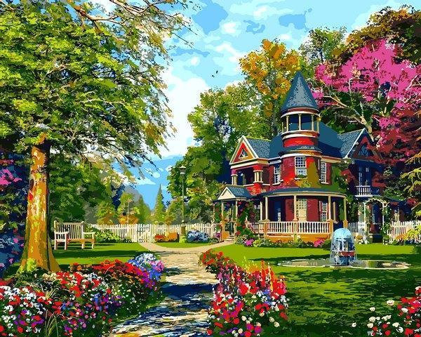 Фото Картины на холсте по номерам, Загородный дом VP 1289  Уютная дача картина по номерам    40х50см