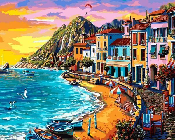 Фото Картины на холсте по номерам, Морской пейзаж Q2232 Набережная на закате  Роспись по номерам на холсте 40х50см