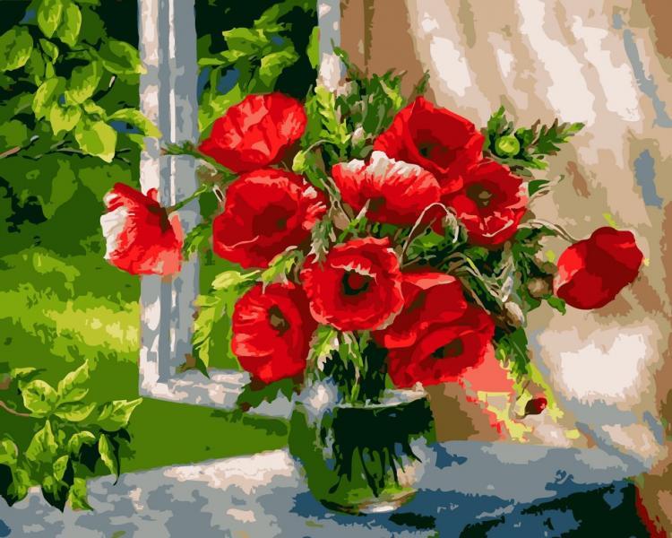 Фото Картины на холсте по номерам, Картины по номерам 50х65см AS 0613 Маке в вазе Картина по номерам на холсте ART STORY 50x65см