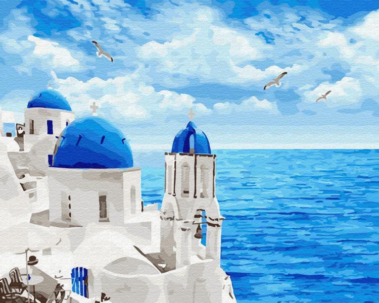 Фото Картины на холсте по номерам, Морской пейзаж KGX 29448 Облака Санторини Картина по номерам на холсте 40х50см