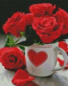 Фото  АSМ3 Яркие розы Набор для творчества алмазная живопись 40х50 см холст натянут на ДВП