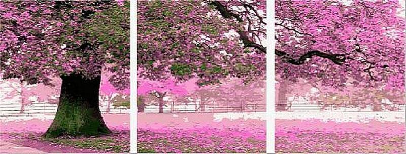 Фото Картины на холсте по номерам, Триптих, диптих MS 14028 (DZ 3003) ТРИПТИХ Весенний цвет