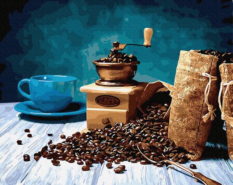 Фото Картины на холсте по номерам, Букеты, Цветы, Натюрморты KGX 29455 Магия кофе Картина по номерам на холсте 40х50см