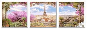 Фото Картины на холсте по номерам, Триптих, диптих VPT 006 Триптих Весенний Париж Роспись по номерам на холсте 50х150см