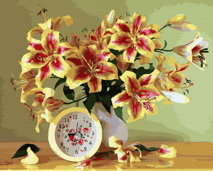 Фото Картины на холсте по номерам, Картины  в пакете (без коробки) 50х40см; 40х40см; 40х30см, Цветы, букеты, натюрморты GX 33911 Время дарить цветы Картина по номерам на холсте 40х50см без коробки, в пакете