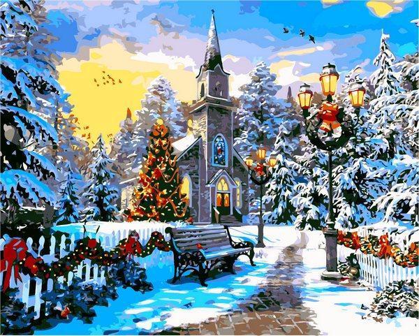 Фото Картины на холсте по номерам, Загородный дом VP 1262 Рождественское настроение Картина по номерам на холсте 40х50см