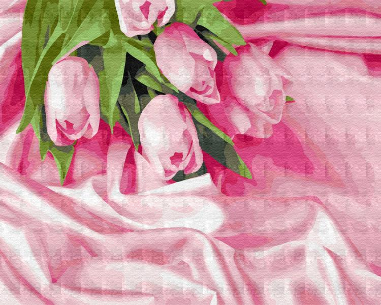 Фото Картины на холсте по номерам, Букеты, Цветы, Натюрморты KGX34760Тюльпаны в шелке  Роспись по номерам на холсте 40х50см  без коробки