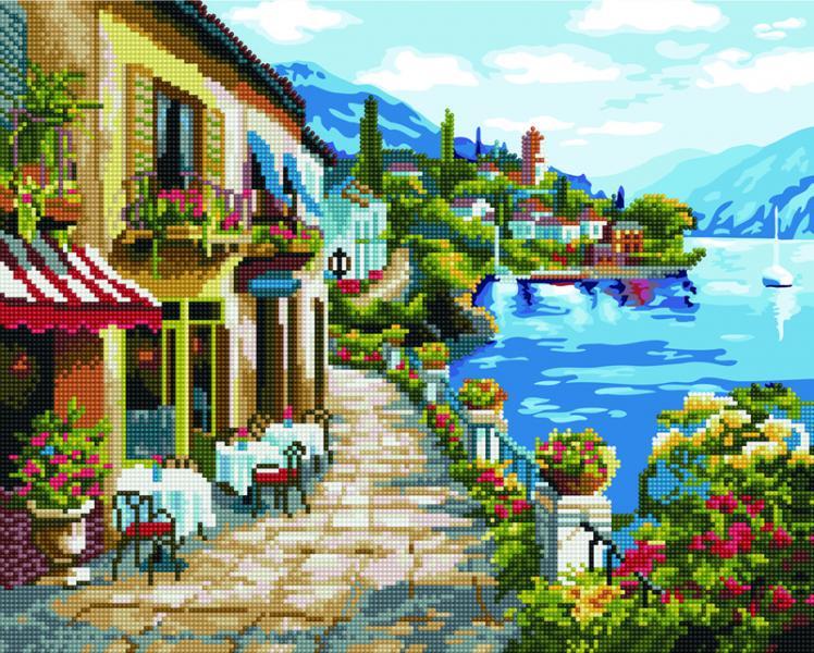 Фото  GZS 1077 Кафе на набережной Алмазная картина-раскраска (смешанная техника)