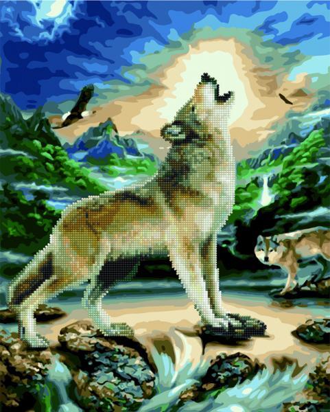 Фото  GZS 1095 Волк при луне Алмазная картина-раскраска (смешанная техника)