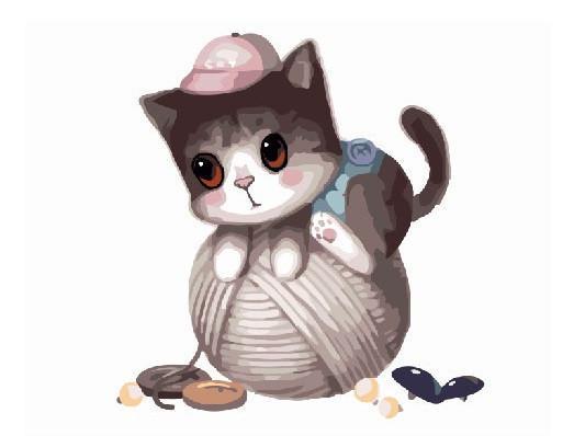 Фото Картины на холсте по номерам, Картины-раскраски по номерам (детские) GX 8400 Маленький котик с клубком  Роспись по номерам на холсте 40х50см без коробки, в пакете