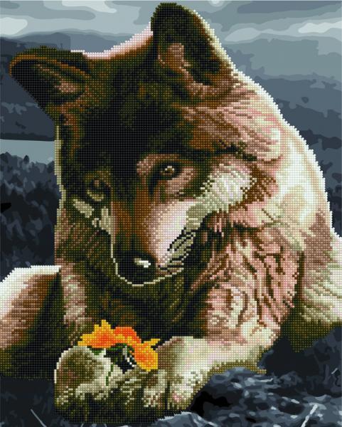 Фото  GZS 1078 Волк и цветок Алмазная картина-раскраска (смешанная техника)
