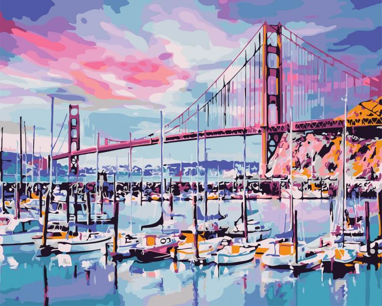 Фото Картины на холсте по номерам, Морской пейзаж AS 0690 Мост. Золотые ворота Картина по номерам на холсте Art Story 40x50см