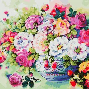 Фото Картины на холсте по номерам, Картины  в пакете (без коробки) 50х40см; 40х40см; 40х30см, Цветы, букеты, натюрморты AS 0801 Разноцветные розы Картина по номерам на холсте Art Story без коробки 40x40см
