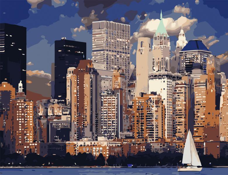 Фото Картины на холсте по номерам, Картины по номерам 50х65см AS 0827 Вечер в Нью-Йорке Картина по номерам на холсте ART STORY 50x65см