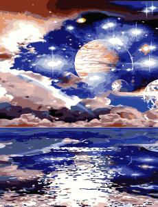 Фото Картины на холсте по номерам, Картины по номерам 50х65см AS 0828 Космический пейзаж Картина по номерам на холсте ART STORY 50x65см
