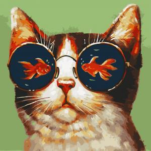 Фото Картины на холсте по номерам, Картины  в пакете (без коробки) 50х40см; 40х40см; 40х30см, Животные, птицы, рыбы AS 0797 Мечты кота Картина по номерам на холсте Art Story без коробки 40x40см