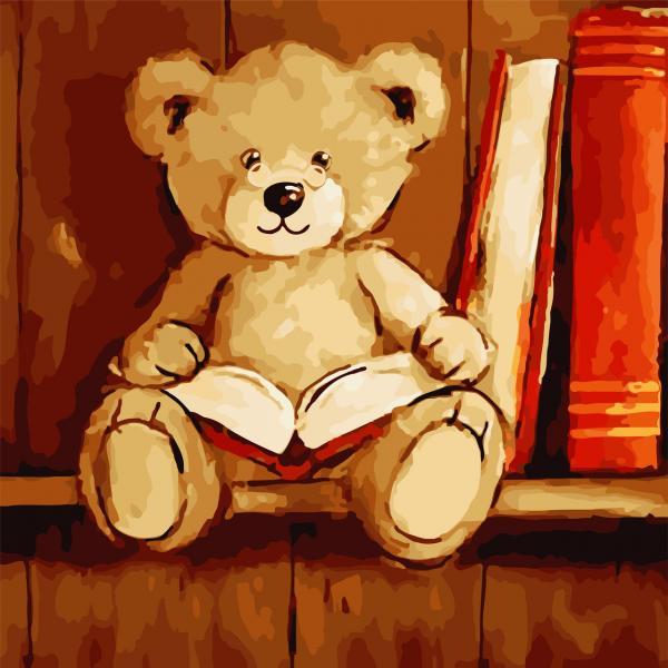 Фото Картины на холсте по номерам, Картины  в пакете (без коробки) 50х40см; 40х40см; 40х30см, Животные, птицы, рыбы AS 0803 Медвежонок с книгой Картина по номерам на холсте Art Story без коробки 40x40см