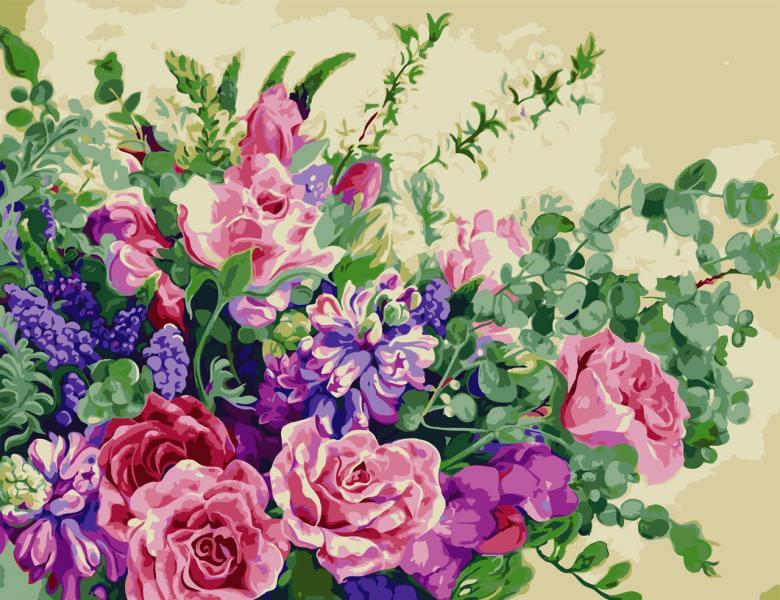 Фото Картины на холсте по номерам, Картины по номерам 50х65см AS 0815 Чудесные цветы Картина по номерам на холсте ART STORY 50x65см