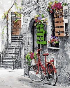 Фото Картины на холсте по номерам, Городской пейзаж Q 2242 Цветочная улочка Роспись по номерам на холсте 40х50см