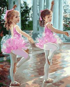 Фото Картины на холсте по номерам, Дети на картине Q 2244 Маленькие балерины Роспись по номерам на холсте 40х50см