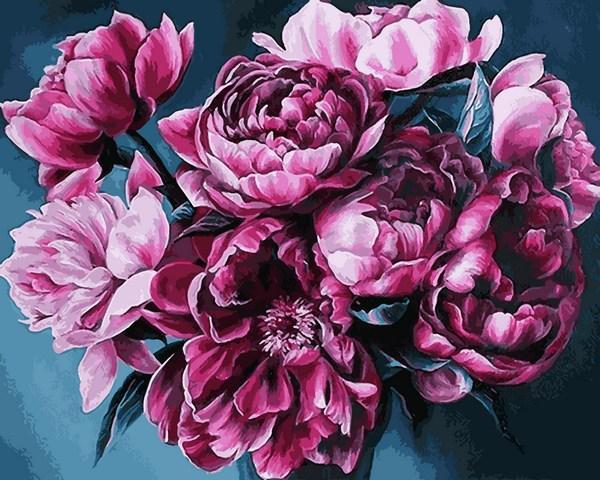 Фото Картины на холсте по номерам, Букеты, Цветы, Натюрморты Q 2247 Королевский букет Роспись по номерам на холсте 40х50см