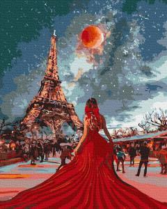 Фото Картины на холсте по номерам, Романтические картины. Люди KATG 0003 Девушка в красном Картина по номерам на холсте 40х50см