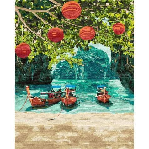 Фото Картины на холсте по номерам, Картины  в пакете (без коробки) 50х40см; 40х40см; 40х30см, Пейзаж, морской пейзаж. KHO2291 Отдых в Таиланде Картина  по номерам на холсте (без коробки) 40х50см