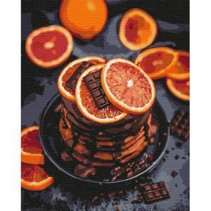 Фото Картины на холсте по номерам, Картины  в пакете (без коробки) 50х40см; 40х40см; 40х30см, Цветы, букеты, натюрморты KHO5593 Апельсиново-шоколадное наслаждение Картина  по номерам на холсте (без коробки) 40х50см