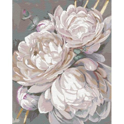Фото Картины на холсте по номерам, Букеты, Цветы, Натюрморты KH 3115 Белый пион с золотой краской Картина  по номерам на холсте 40х50см