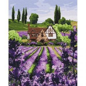 Фото Картины на холсте по номерам, Загородный дом KH 2293 Лавандовый домик Картина  по номерам на холсте40х50см