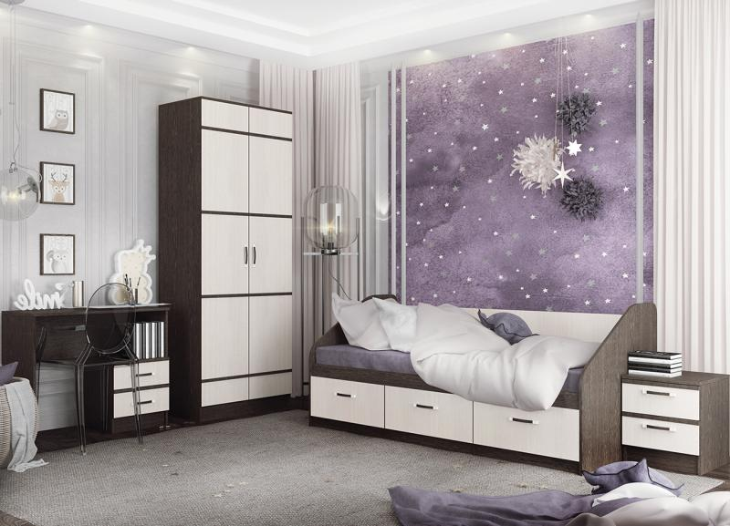 Фото Детская мебель, Детские кровати Кровать Аленка 0,8м венге/белфорт (ДСВ)